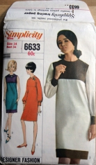misses' one-piece dress, Simplicity Designer Fashion 6633, 1966